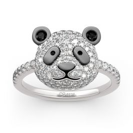 """Jeulia """"Be Calm and Steady"""" Cute Panda Sterling Silver Ring"""
