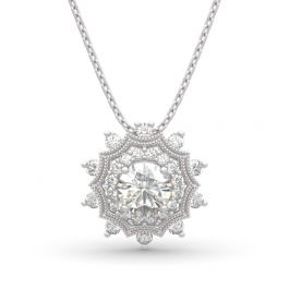 """Jeulia """"Winter Love"""" Snowflake Round Cut Sterling Silver Necklace"""