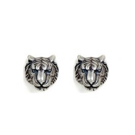 """Jeulia """"King of The Forest"""" Punk Style Tiger Head Sterling Silver Earrings"""