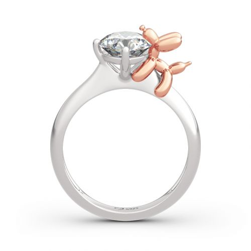 "Jeulia Hug Me ""Balloon Dog"" Round Cut Sterling Silver Ring"
