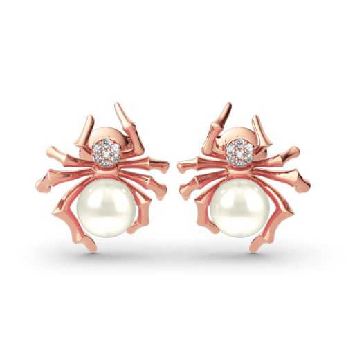 Jeulia Spider Design Cultured Pearl Sterling Silver Earrings