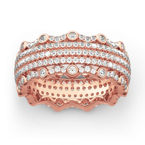 Jeulia Rose Gold Tone Pave Sterling Silver Women's Band