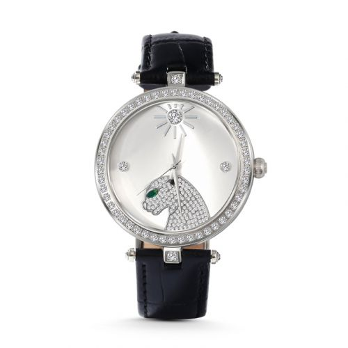 """Jeulia """"Wild and Free"""" Leopard Quartz Black Leather Watch with Silver-Tone Dial"""