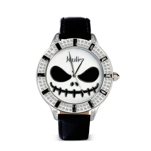 """Jeulia """"King of Halloween Town"""" Jack Skellington Quartz Black Leather Watch with Mother-of-Pearl Dial"""