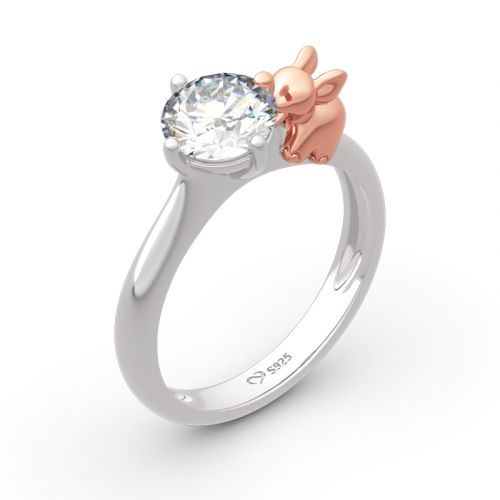 """Jeulia """"Lucky Elephant"""" Round Cut Sterling Silver Ring"""