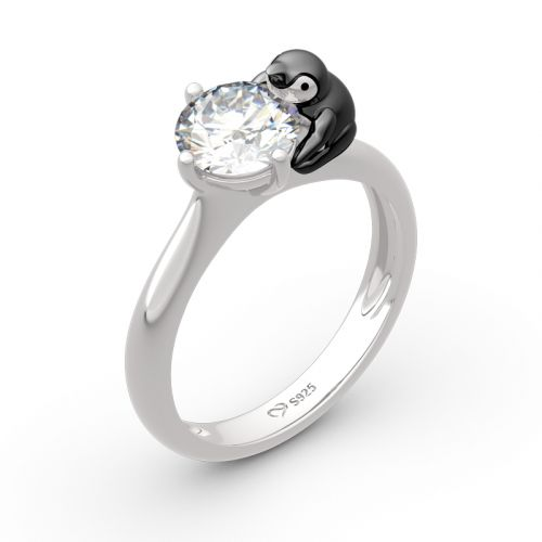 """Jeulia """"Keep Your Cool"""" Penguin Round Cut Sterling Silver Ring"""