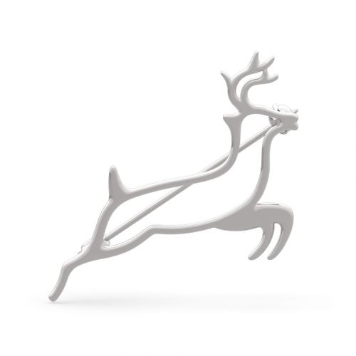 "Jeulia ""Protect You Forever"" Deer Design Sterling Sliver Brooch"