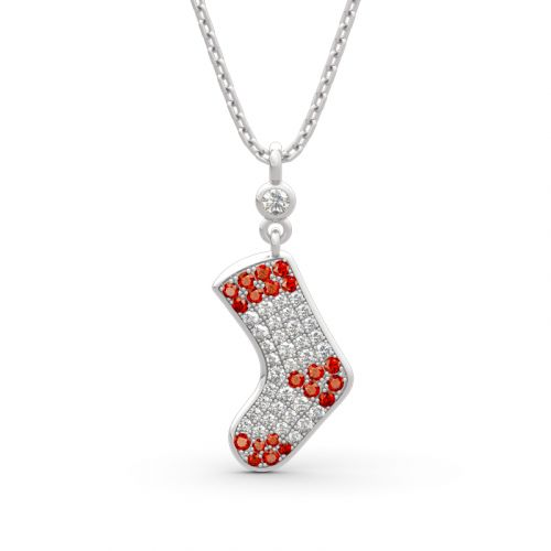 "Jeulia ""Christmas Stocking"" Sterling Silver Necklace"