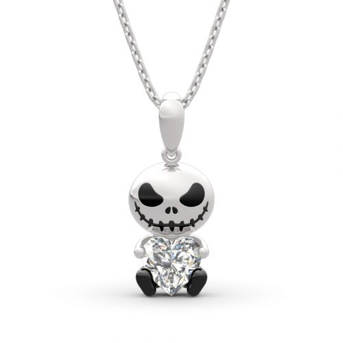 "Jeulia Hug Me ""Love Confession"" Skull Heart Cut Sterling Silver Necklace"