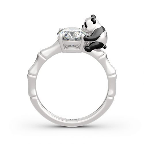 "Jeulia Hug Me ""Cute Panda"" Round Cut Sterling Silver Ring"