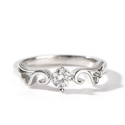 "Jeulia ""Angel Wings"" Round Cut Sterling Silver Ring"