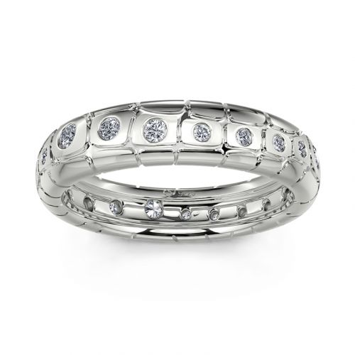 "Jeulia ""Endless Love"" Round Cut Sterling Silver Band"