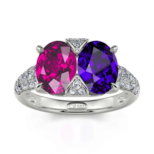 "Jeulia ""Stunning Colors"" Oval Cut Sterling Silver Ring"