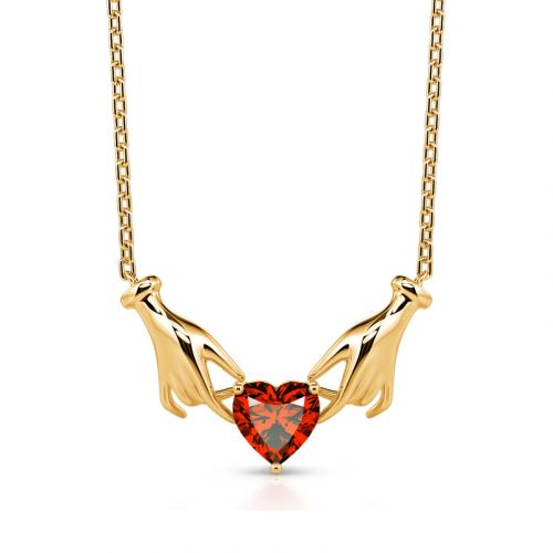 "Jeulia ""Vows of Love"" Heart Cut Sterling Silver Claddagh Necklace"
