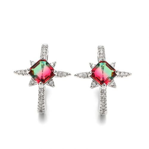 "Jeulia ""Endless Light "" North Star Princess Cut Watermelon Sterling Silver Earrings"