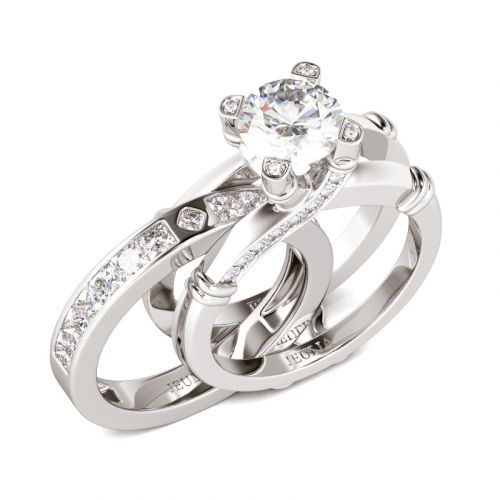 Jeulia Knot Round Cut Sterling Silver Interchangeable Ring Set