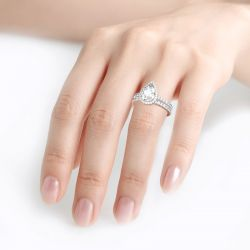 Jeulia Halo Pear Cut Sterling Silver Eternity Ring Set