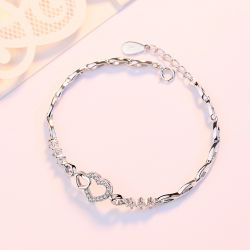 Jeulia Sweet Simple Heart 925 Sterling Silver Bracelet