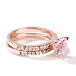 Jeulia Pink Heart Cut Synthetic Morganite Sterling Silver Ring Set
