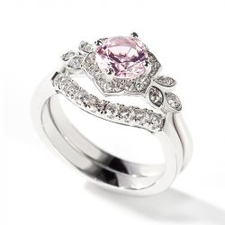 Jeulia Flower Design Round Cut Synthetic Morganite Sterling Silver Ring
