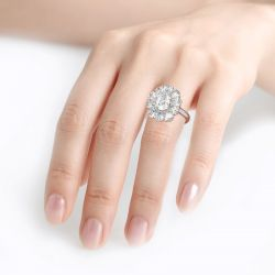 Jeulia Flower Shape Oval Cut Sterling Silver Ring