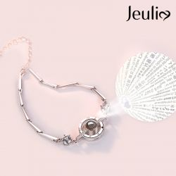 Jeulia 100 Languages I Love You Sterling Silver Bracelet
