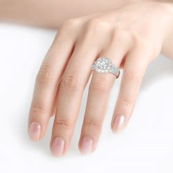 Jeulia Halo Round Cut Sterling Silver Ring