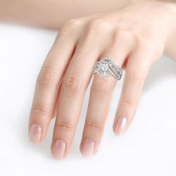 Jeulia Vintage Cushion Cut Sterling Silver Ring
