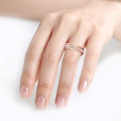 Jeulia Simple Design Round Cut Sterling Silver Women's Band