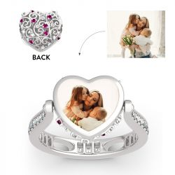 "Jeulia ""Soulmate"" Sterling Silver Personalized Photo Ring (With A Free Chain)"