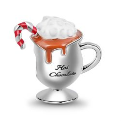 """""""Enjoy on Cold Days"""" Sterling Silver Hot Chocolate Cocoa Charm Bead"""