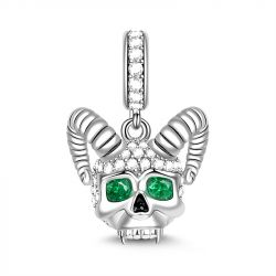 """""""Love You Till The Sun Dies"""" Skull with Horns Charm Sterling Silver Pendant"""
