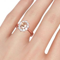 Jeulia Floral Oval Cut Sterling Silver Ring