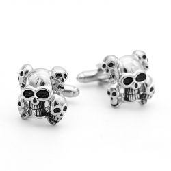 Jeulia Vintage Five Skulls Copper Men's Cufflinks