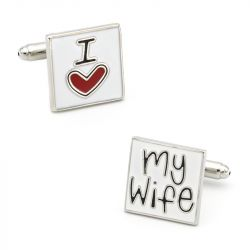 "Jeulia ""I Love My Wife"" Copper Men's Cufflinks"