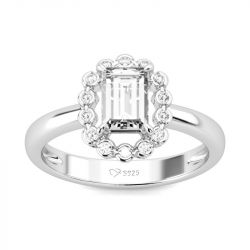 Jeulia Halo Emerald Cut Sterling Silver Ring
