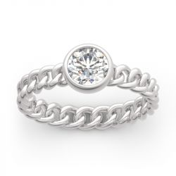 Jeulia Chain Link Shank Round Cut Sterling Silver Ring