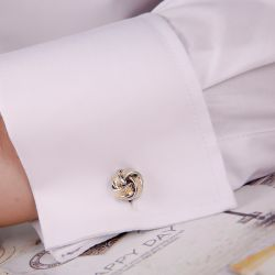 Jeulia Two Tone Twist Design Men's Cufflinks