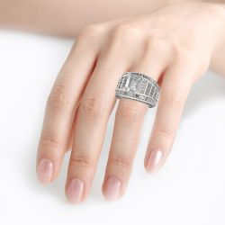 Jeulia Wide Shank Emerald Cut Sterling Silver Ring