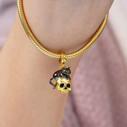 Black Cat with Skull Pendant Dangle Charm Sterling Silver 18k Gold Plated