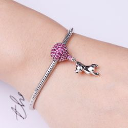 Bear With Balloon Charm Pendant Sterling Silver