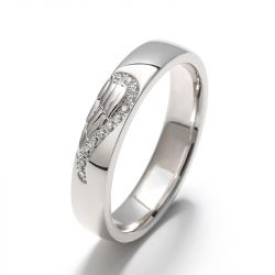 Jeulia Angel Wing Creative Engraved Sterling Silver Women's Band