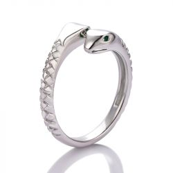 Jeulia Double Snake Head Sterling Silver Ring