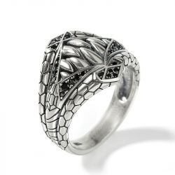 Jeulia Sharp-toothed Symbiote Superhero Inspired Sterling Silver Men's Band