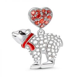 """""""Polar Bear With Scarf"""" Sterling Silver Dangle Charm"""