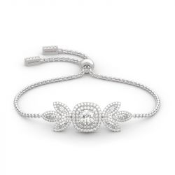 Jeulia Double Halo Cushion Cut Sterling Silver Bracelet