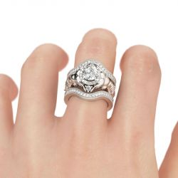 Jeulia 3PC Round Cut Sterling Silver Elephant Ring