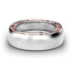 Jeulia Wide Two Tone Infinity Sterling Silver Women's Band
