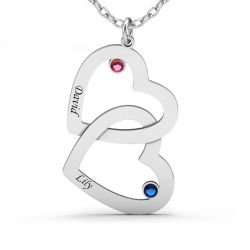Jeulia Double Heart Engraved Necklace with Birthstones Sterling Silver