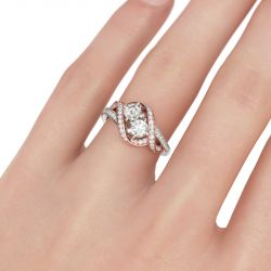 Jeulia Two Stone Twist Round Cut Sterling Silver Ring